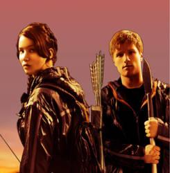 Katniss and Peeta Orange Sunset Edit by CaptainMockingjay
