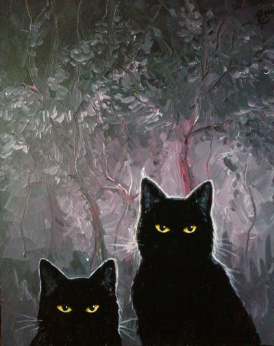Black cats by Toivoshi
