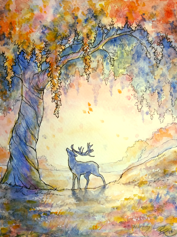 Watercolor meadow by Toivoshi