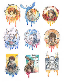 October watercolors doodles