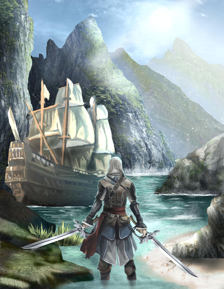 AC4 Fanart Edward Kenway and Carribean Seas by HensenFM