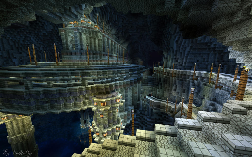 Minecraft build 2 cavern city by haikuo on deviantart for How to build a house in a mountain