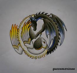 Yin Yang Dragon Pair by queenmariann