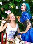 Alice tea party with Bunny