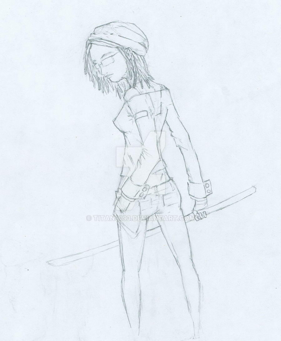 female character of sticks by titan9393