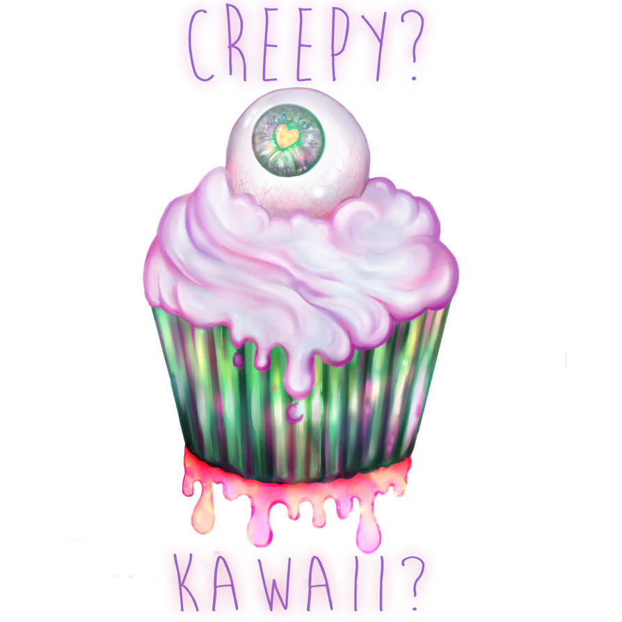 Kawaii creepy eye cupcake !