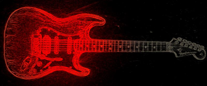 Fender Stratocaster RED Neon Lights By Mackinskey-VibZy On