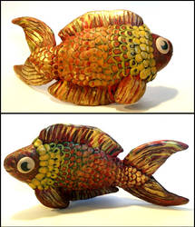 Golden Klimt Fish (Polymer Clay) by Melosyna
