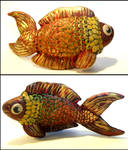 Golden Klimt Fish (Polymer Clay)
