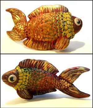 Golden Klimt Fish (Polymer Clay)