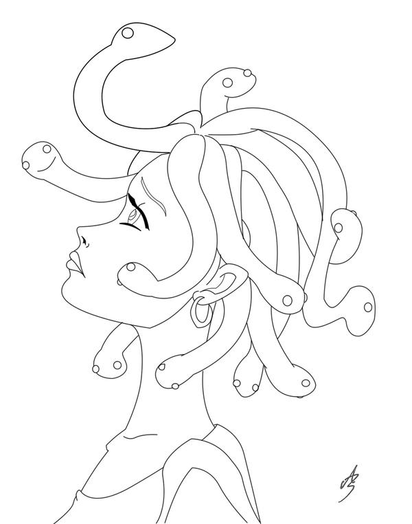 Medusa 39 s lineart by zazi chan on deviantart for Medusa coloring page