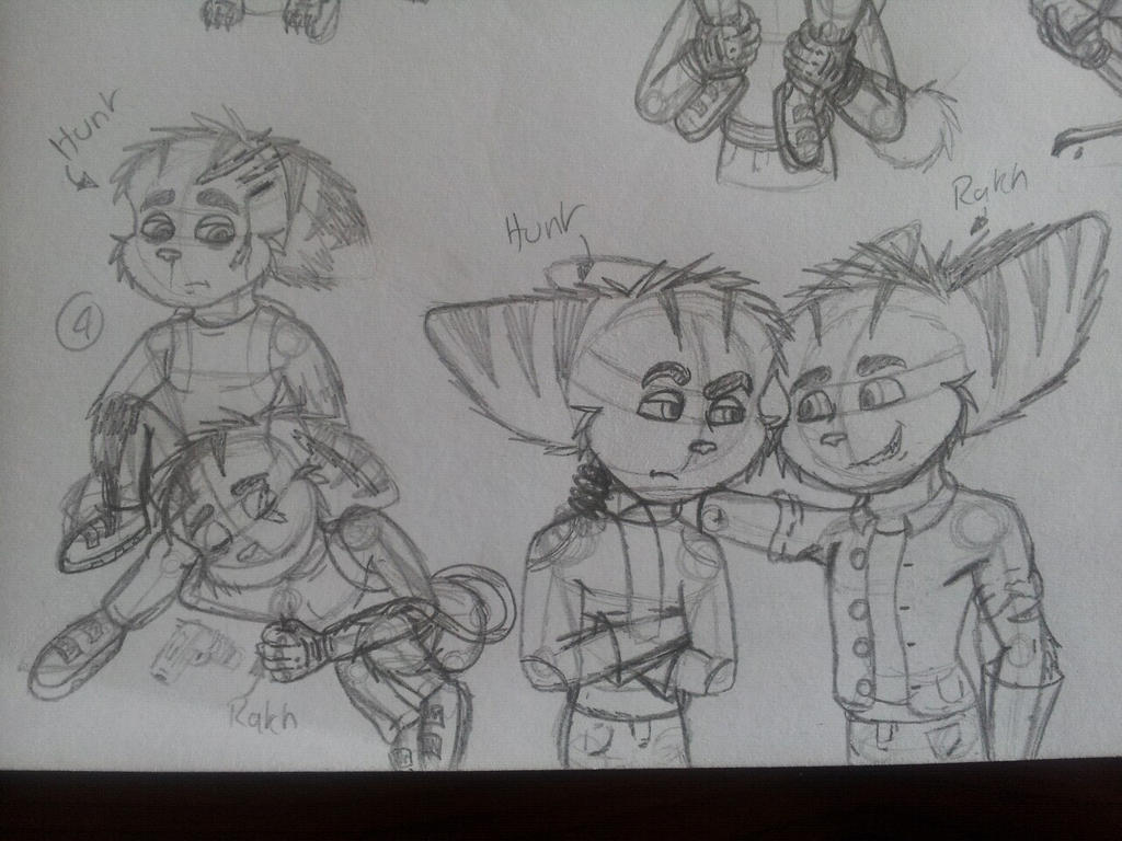 Ratch And Hunt Sketches (2) by YellowDizzyLombax