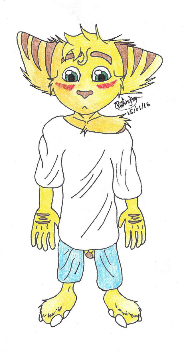 Ratchet in baggy clothes by YellowDizzyLombax