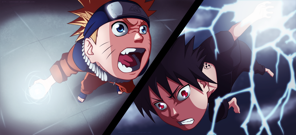 Fight! Naruto vs Sasuke by ZeroooArt