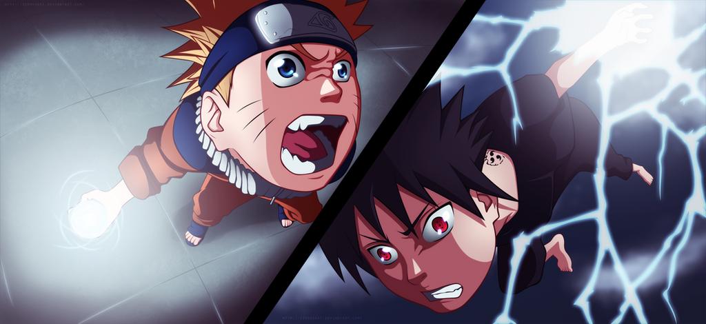 Fight! Naruto vs Sasuke by ZeroooArt
