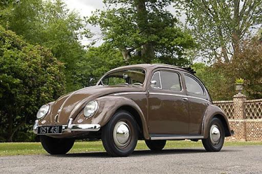 Brown 1953 volkswagen beetle