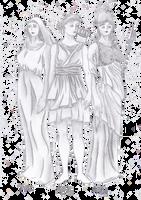 Hestia, Artemis and Athena by AlleynaArts