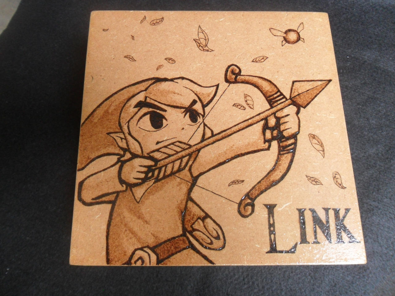 Wood Box Toon Link Pyrography Woodburning by dcmorais on