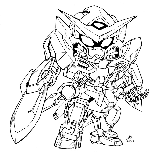 SD Exia lineart by Mintyrobo