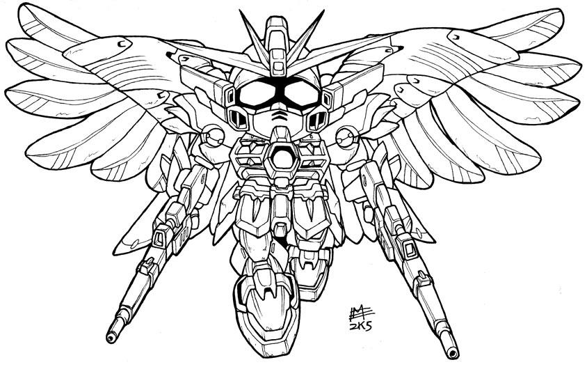 Gundam wing zero pages coloring pages for Gundam wing coloring pages