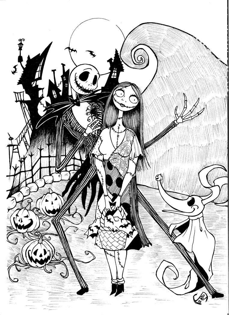 jack skellington coloring pages - jack and sally by jaoramos on deviantart