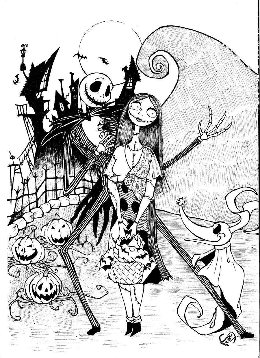 Jack and sally by jaoramos on deviantart for Sally nightmare before christmas coloring pages