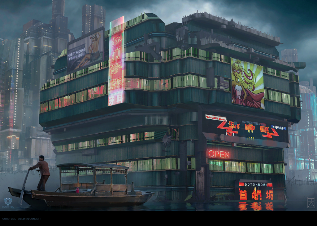 Outer veil cyberpunk building concept by arannihk on for Concept building