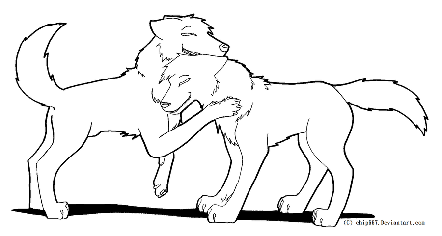 Line Drawing Couple : Wolf couple lineart by chip on deviantart