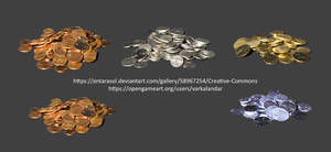 Copper, Silver, Gold and Mithril Coins