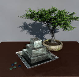 Still life with fountain and bonsai by Antarasol
