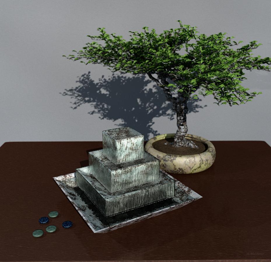 Still Life With Fountain And Bonsai By Antarasol On Deviantart