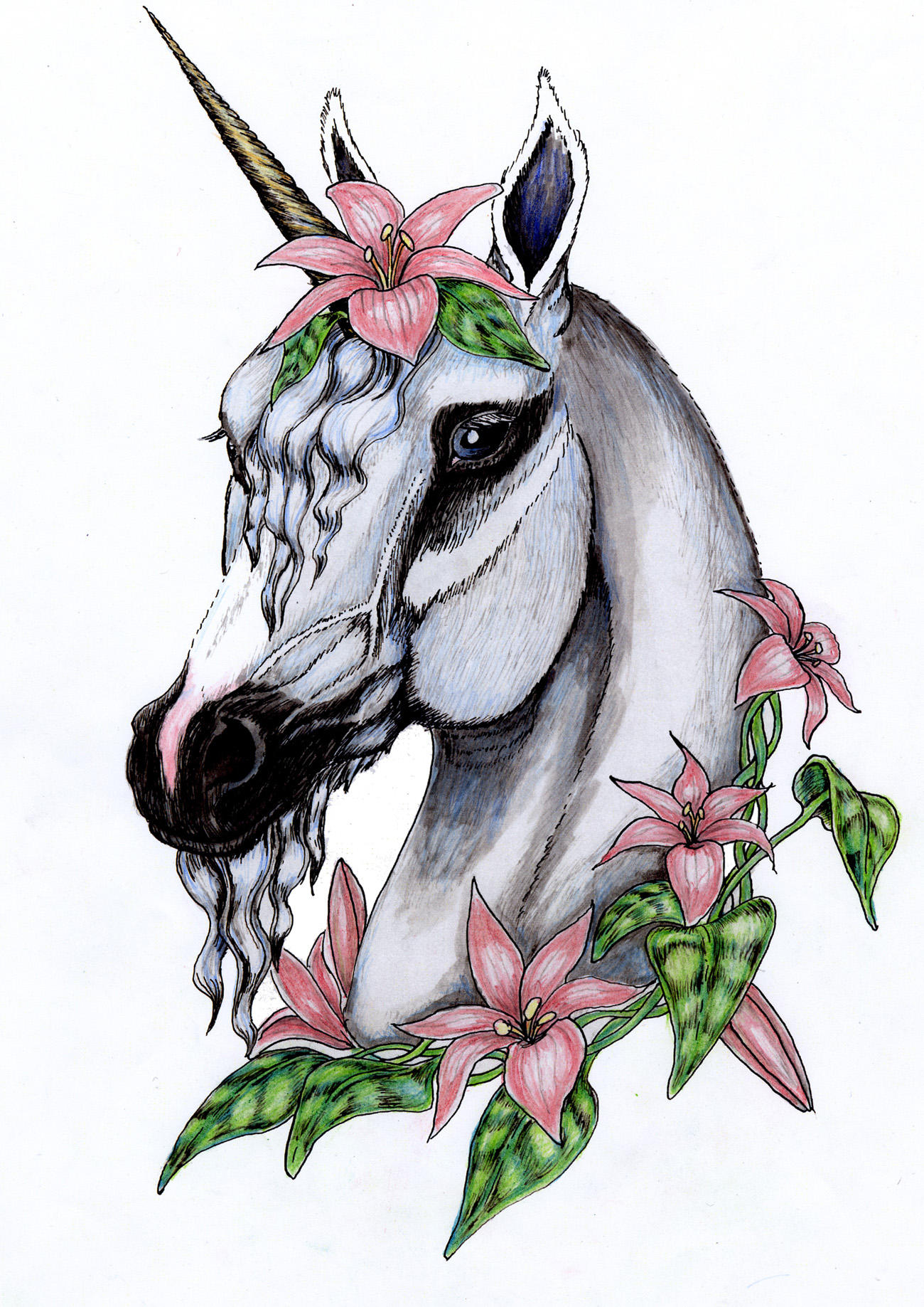 Unicorn face coloring page - Unicorn Drawing In Color Flowered Unicorn In Color
