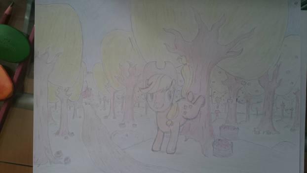 Applejack bucking apples