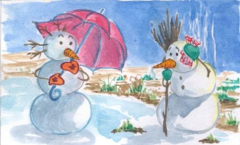 Snowmen in... springtime? by AoKumoYumi