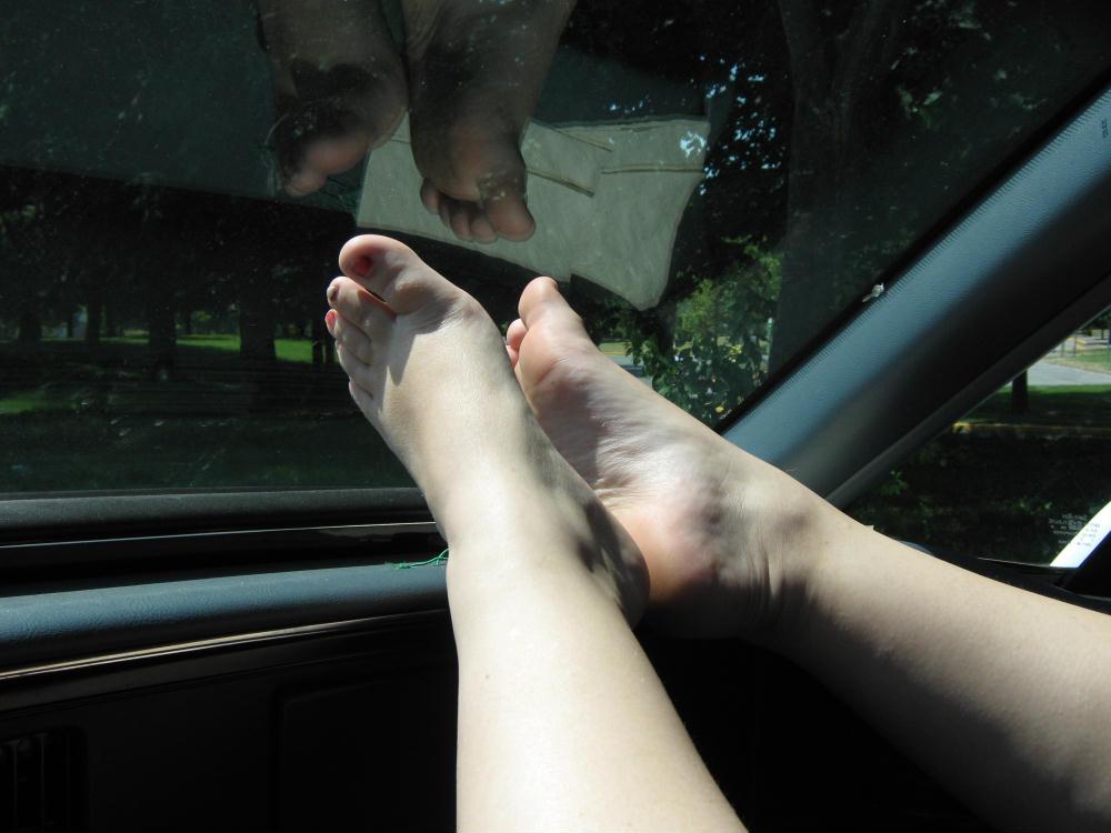 Sarah's Sexy Dashboard Feet by LimeGreenSquid