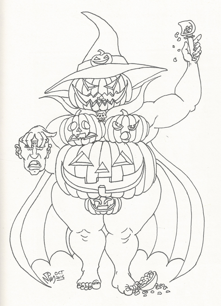 Pumpkin Witch or Jacqueline Lantern - LINES by LimeGreenSquid