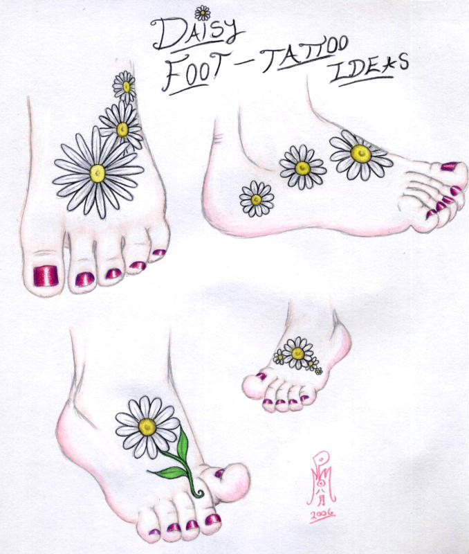 daisy foot tattoo ideas by limegreensquid on deviantart. Black Bedroom Furniture Sets. Home Design Ideas