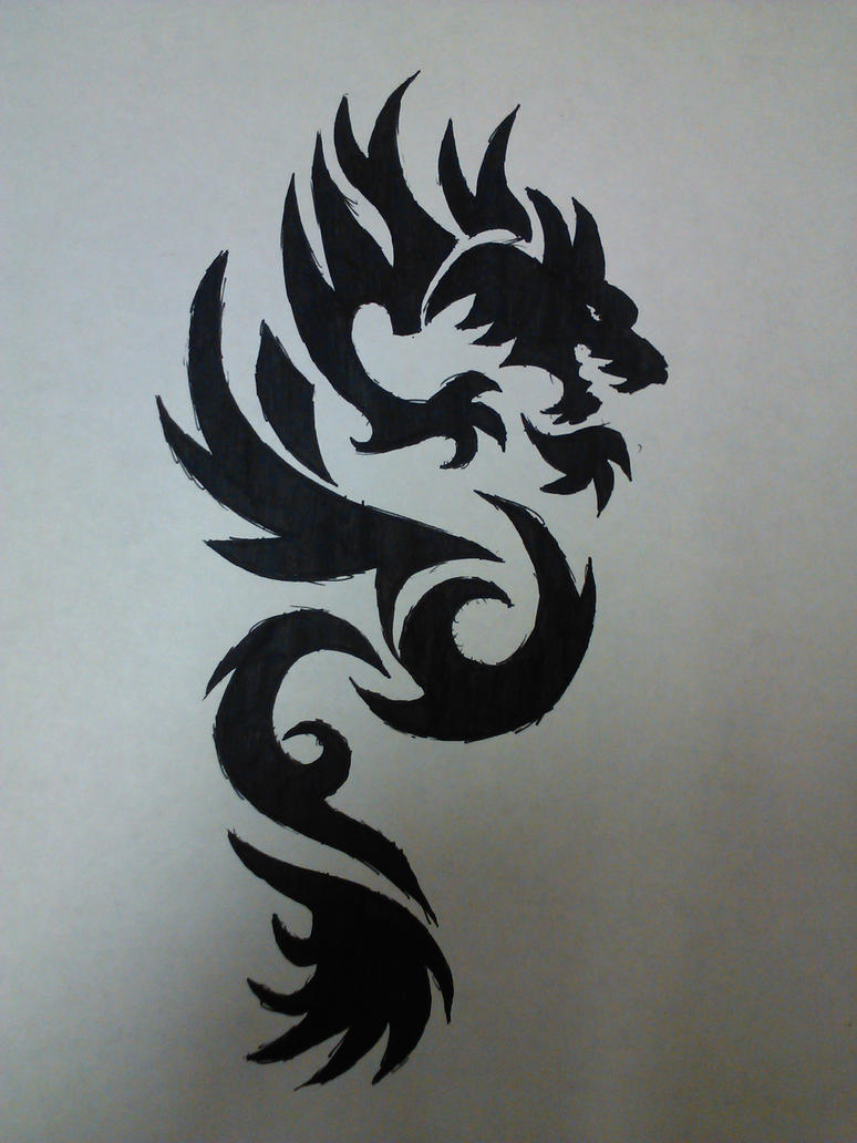 dragon tribal tattoo by xxsufferthesilencexx on deviantart. Black Bedroom Furniture Sets. Home Design Ideas