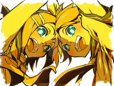 Kagamine Twins by YoshinoAkie