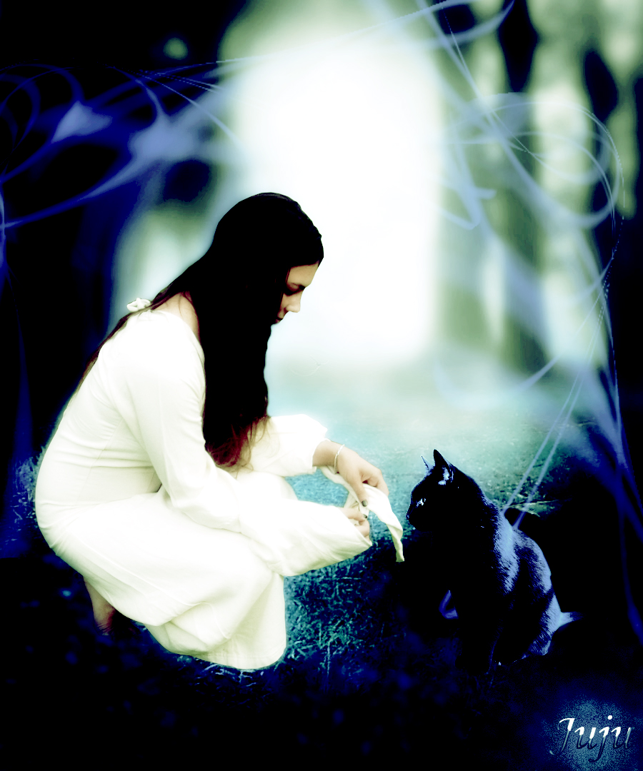the girl and her only one black cat by ladyblackbeast on