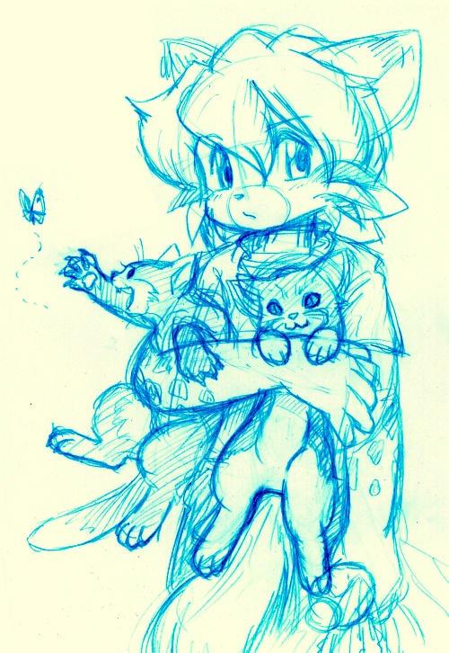 Cats wash sketch by j-fujita