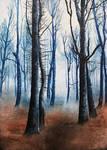 Lonely autumn trees