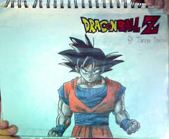 Son Goku + DBZ logo drawing (Unflipped) by TannMann64