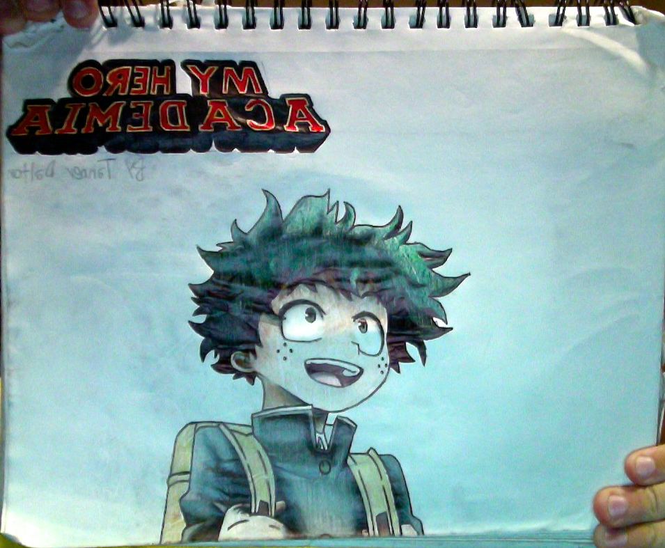 Izuku Midoriya + My Hero Academia logo drawing by TannMann64