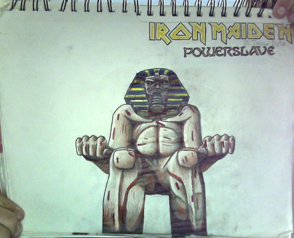 E.#5+IronMaiden:Powerslave logo drawing(Unflipped) by TannMann64