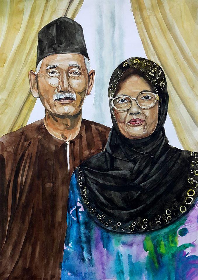 Couple portrait watercolor by berserking