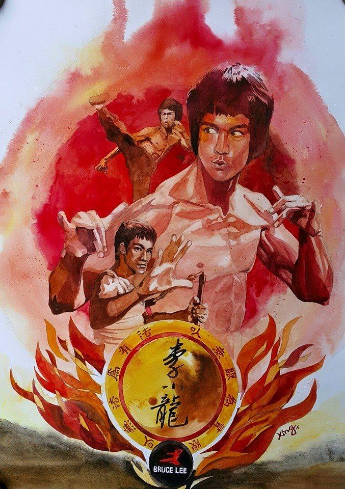 Bruce Lee watercolor illustration by berserking