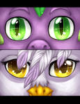P:Speedpaint:MLP Eyes Spike and Gilda by TomoCreations