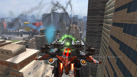 A Giant Steel Dragon Flying Over A City
