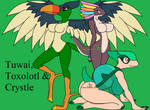 Temtem girls _ Tuwai, Toxolotl and Crystle by K4nK4n